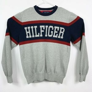 Tommy Hilfiger Mens Large Spellout Sweater Gray